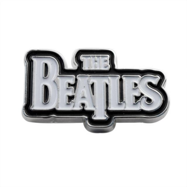 The Beatles White Logo on Black Button - Large