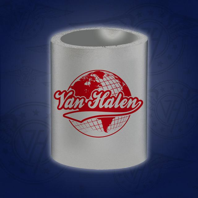 Van Halen Globe Can Coozie Gray
