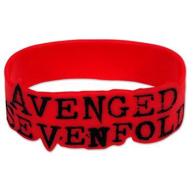 Avenged Sevenfold Avenged Sevenford Red Logo Rubber Bracelet