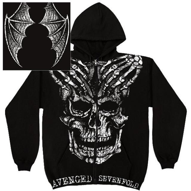 Avenged Sevenfold A7X Skeleton Hands Black Zip Hoodie