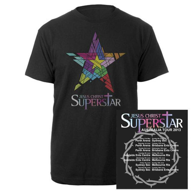 Really Useful Group Jesus Christ Superstar Logo Itinerary Black T-shirt