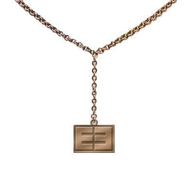 Emblem3 Gold Tone Block Logo Necklace