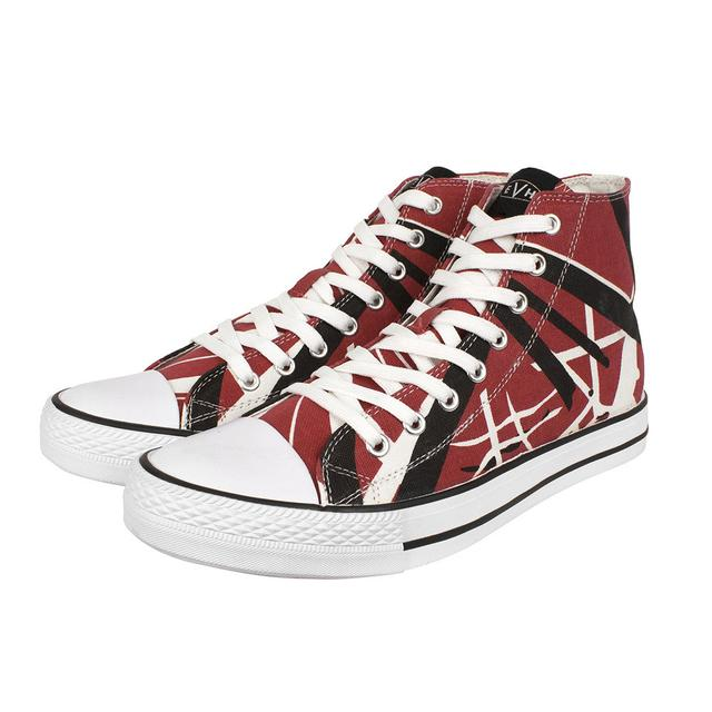 Eddie Van Halen Red/Black/White Striped High Top Sneakers