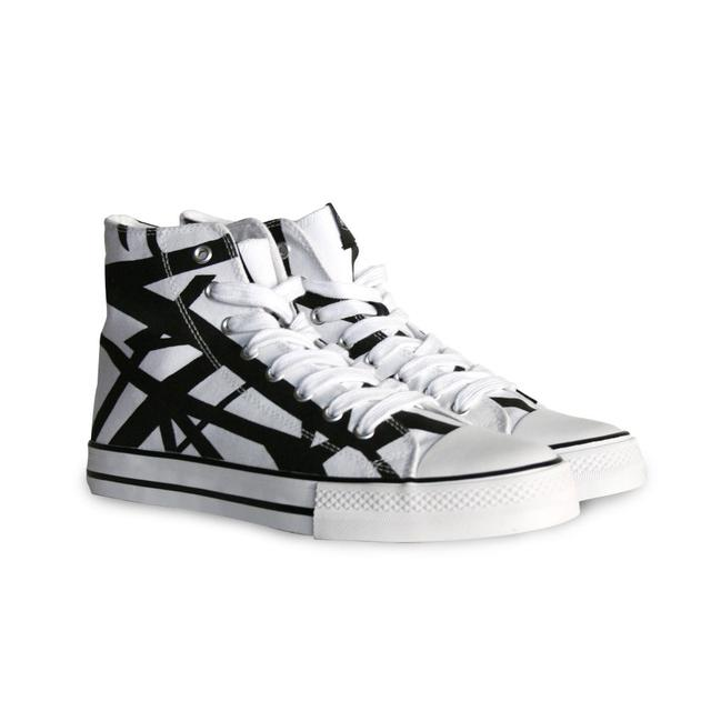 Eddie Van Halen White Body/Black Stripe High Top Sneakers
