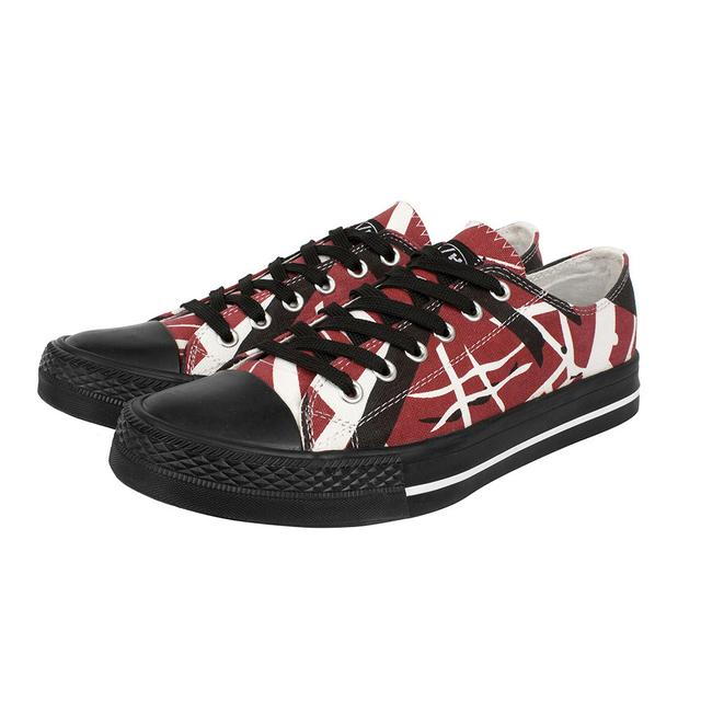 Eddie Van Halen Red/Black/White Striped Low Top Sneakers