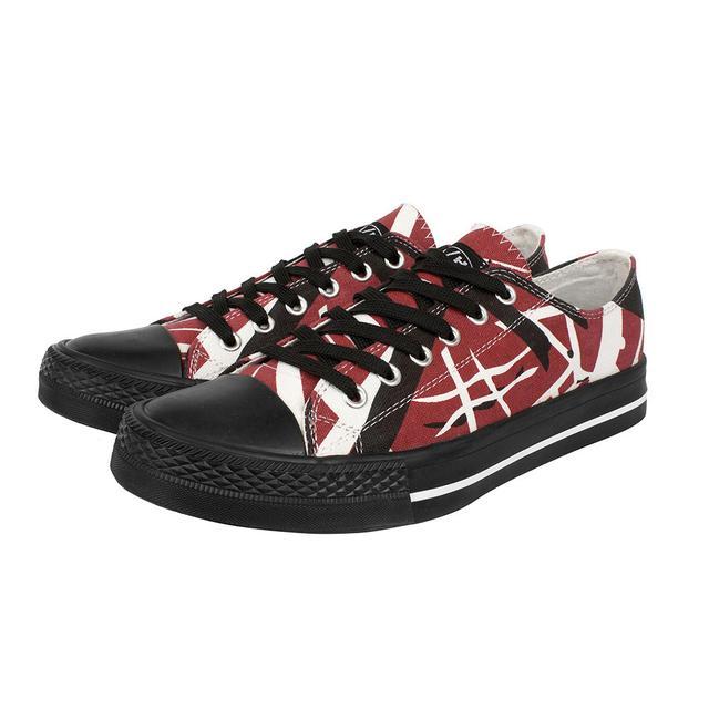 Eddie Van Halen Red/Black/White Striped Low Top Sneakers