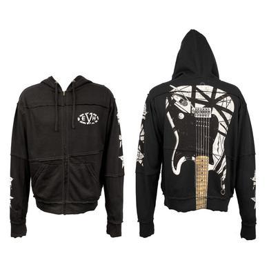 Eddie Van Halen Black/White Stripes Guitar Zip Hoodie