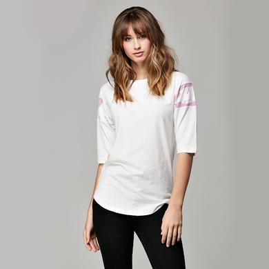 "Eddie Van Halen Women's White/Pink ""Stripes"" Football Tee"