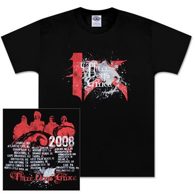 Three Days Grace 2008 4X Black Splatter T-Shirt