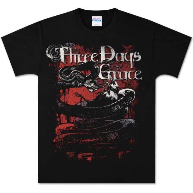 Three Days Grace Killing Snake Distressed Black T-Shirt