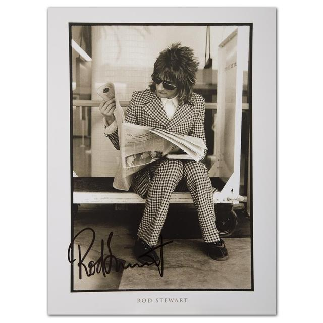 Rod Stewart Signed Newspaper Lithograph