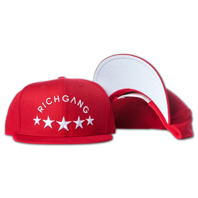 Rich Gang Five Stars Snap Back Hat In Cherry