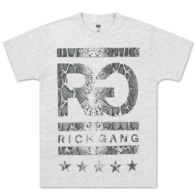 Rich Gang Rich Girl Snake Skin Logo T-Shirt In Grey