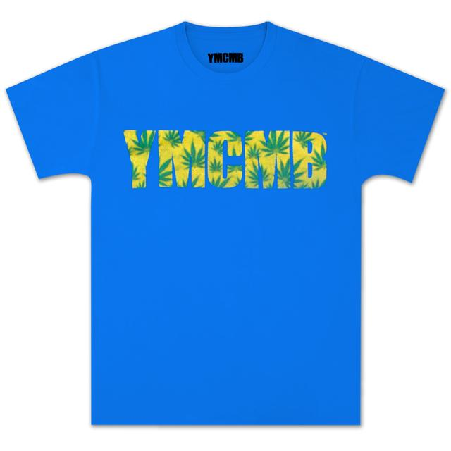YMCMB Hemp Stained Pot Leaf T-Shirt In Nautical Blue