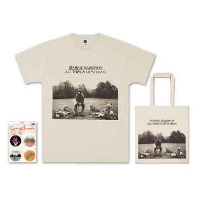 George Harrison All Things Must Pass T-Shirt, Tote & Badge Set Bundle