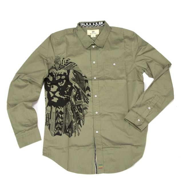 Bob Marley Ikat Lion Button Shirt