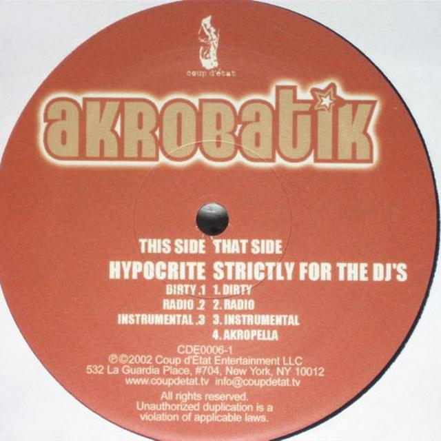 Akrobatik HYPOCRITE / STRICTLY FOR THE DJ'S Vinyl Record