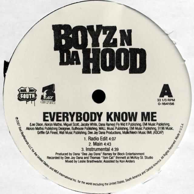 Boyz N Da Hood EVERYBODY KNOW ME Vinyl Record