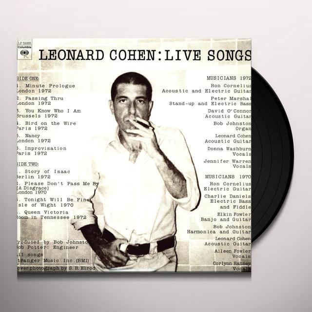 Leonard Cohen LIVE SONGS Vinyl Record