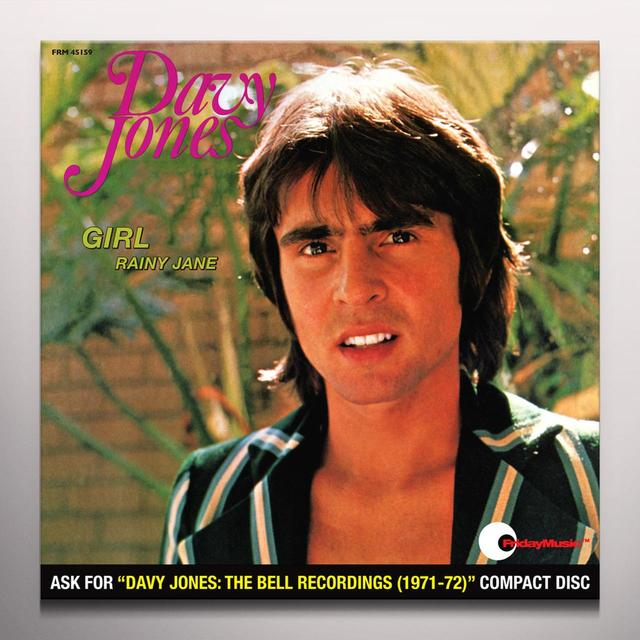 Davy Jones GIRL / RAINY JANE Vinyl Record - Colored Vinyl, Limited Edition