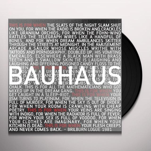 Bauhaus THIS IS FOR WHEN LIVE 1981 Vinyl Record - UK Import