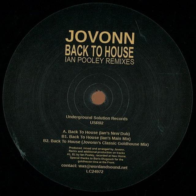 Jovonn BACK TO HOUSE: IAN POOLEY REMIXES Vinyl Record