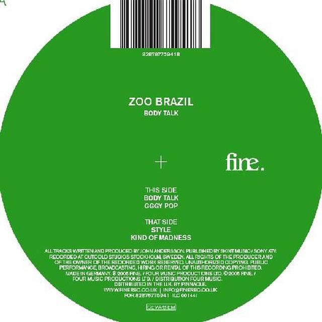 Zoo Brazil BODY TALK EP Vinyl Record