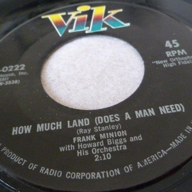 Frank Minion HOW MUCH LAND (DOES A MAN NEED) Vinyl Record - UK Release
