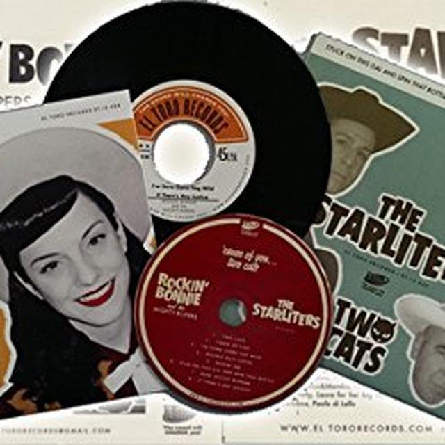 Rockin Bonnie & The Mighty Ropers/The Starliters CAUSE OF YOU TWO CATS Vinyl Record