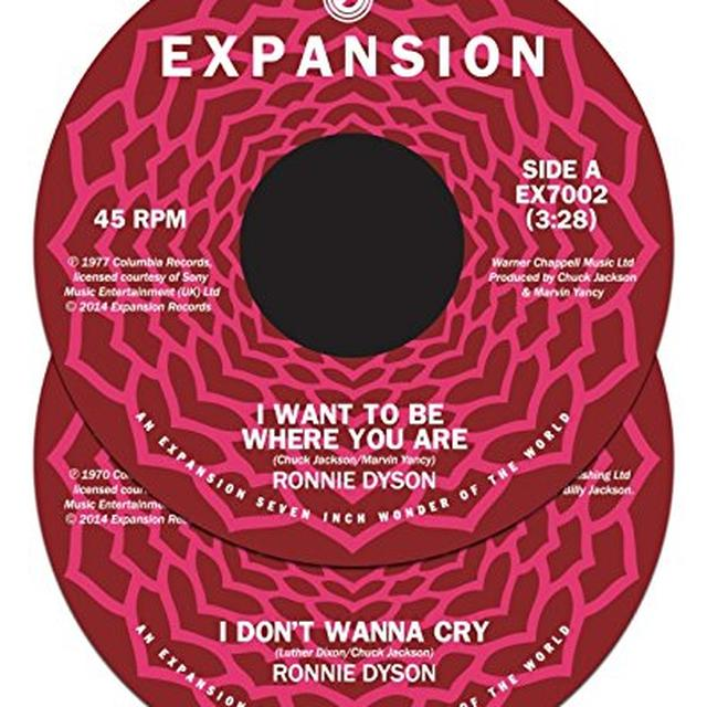 Ronnie Dyson I WANT TO BE WHERE YOU ARE/I DON'T WANNA CRY Vinyl Record