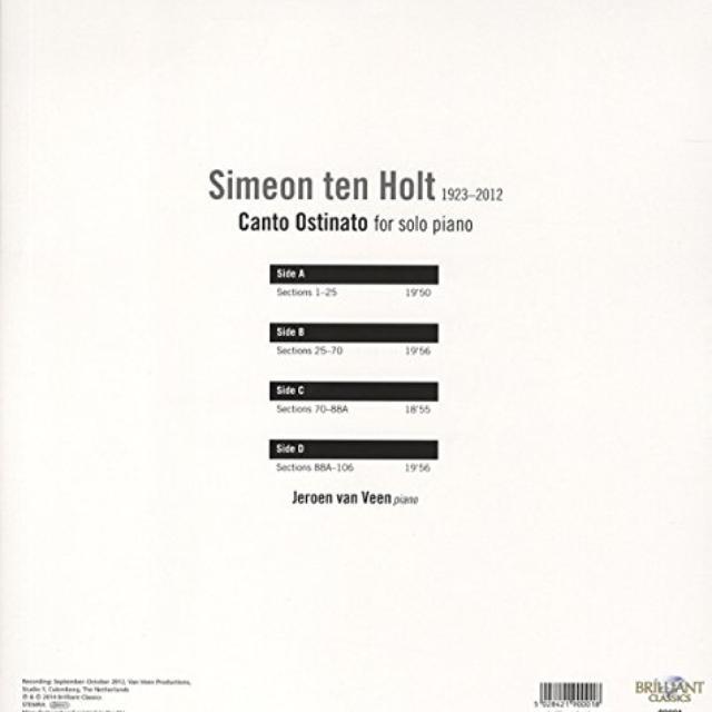 Jeroen van Veen TEN HOLT: CANTO OSTINATO FOR SOLO PIANO (UK) (Vinyl)
