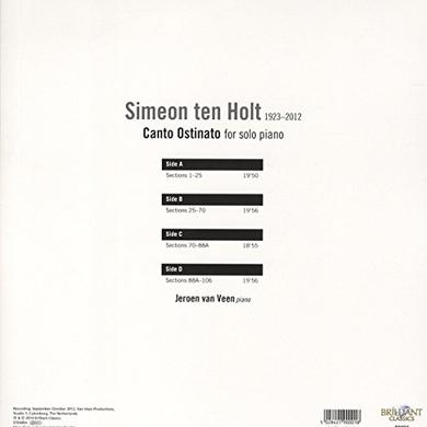 TEN HOLT / VEEN CANTO OSTINATO FOR SOLO PIANO Vinyl Record