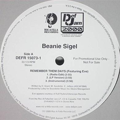 Beanie Sigel REMEMBER THEM DAYS Vinyl Record