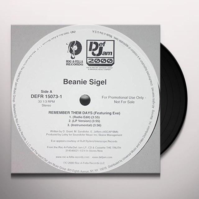 Beanie Sigel REMEMBER THEM DAYS Vinyl Record - Canada Import