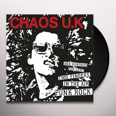 Chaos Uk EARSLAUGHTER & 100 PERCENT TWO FINGERS IN THE AIR Vinyl Record