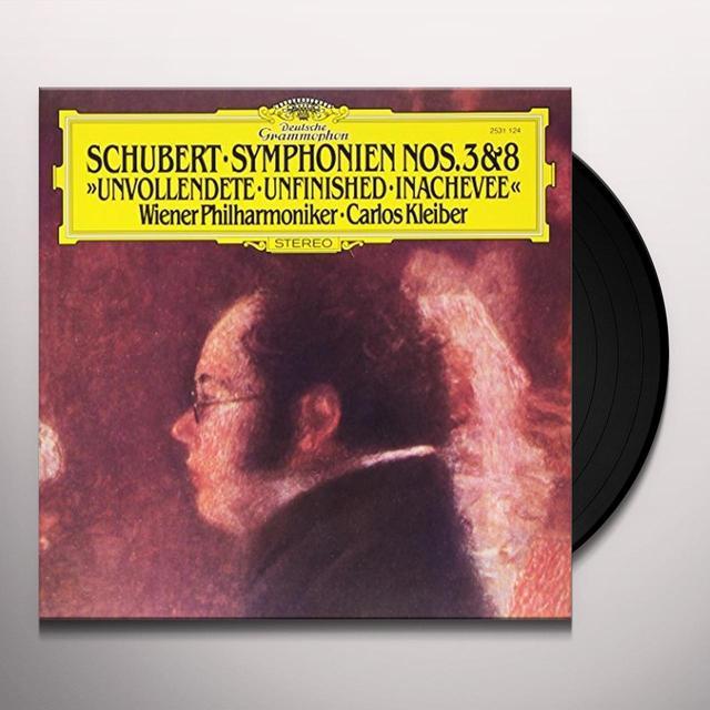 SCHUBERT / KLEIBER / WIENER PHILHARMONIKER SCHUBERT: SYMPHONIES NOS 3 & 8 UNFINISHED Vinyl Record - 180 Gram Pressing