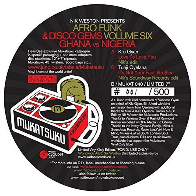 NIK WESTON PRESENTS AFRO FUNK & DISCO GEMS VOL 6 Vinyl Record