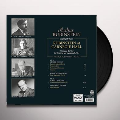 Arthur Rubinstein HIGHLIGHTS FROM RUBINSTEIN AT CARNEGIE HALL Vinyl Record