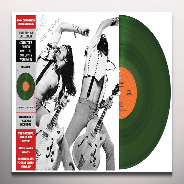 Ted Nugent FREE-FOR-ALL Vinyl Record - Clear Vinyl, Gatefold Sleeve, Green Vinyl, Limited Edition, Remastered