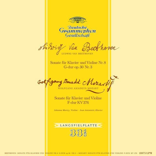 MARTZY,JOHANNA BEETHOVEN & MOZART SONATAS FOR PIANO & VIOLIN Vinyl Record