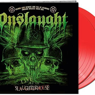 Onslaught LIVE AT THE SLAUGHTERHOUSE (RED VINYL) Vinyl Record - Colored Vinyl, UK Release