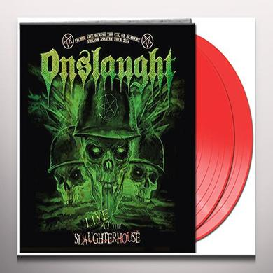 Onslaught LIVE AT THE SLAUGHTERHOUSE (RED VINYL) Vinyl Record - Colored Vinyl, UK Import