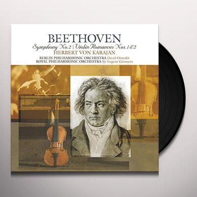 Beethoven / Herbert Von Karajan BEETHOVEN: SYMPHONIES 2 / VIOLIN ROMANCES 1 & 2 Vinyl Record