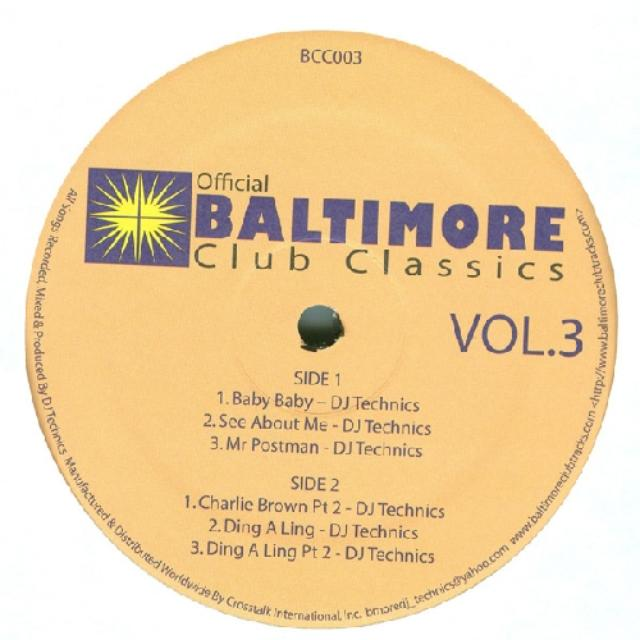 BALTIMORE CLUB CLASSICS 3 / VAR Vinyl Record