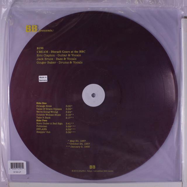 Cream DISRAELI GEARS AT THE BBC Vinyl Record