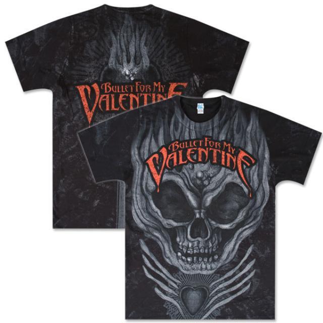 Bullet for My Valentine Flame Skull All Over Tonal Black Tee