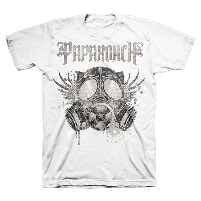 Papa Roach White Gas Mask Tee