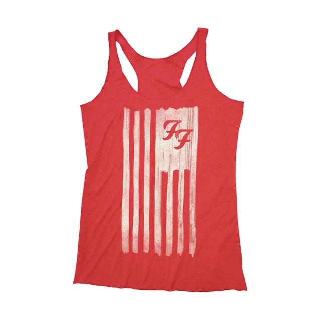 Foo Fighters Foos and Stripes Girl's Tank (Vintage Red)