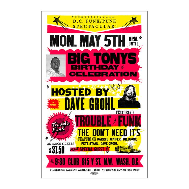 Foo Fighters Big Tony's Bday Event Poster 5/5/14