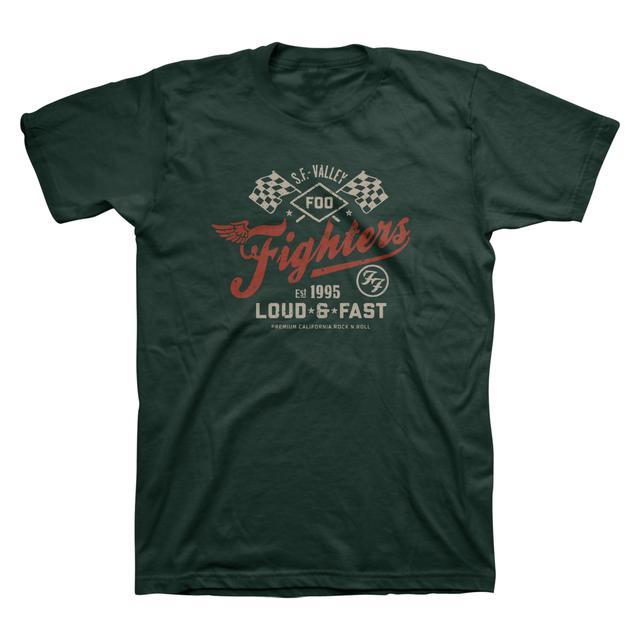 Foo Fighters Loud & Fast Unisex Tee (Military Green)